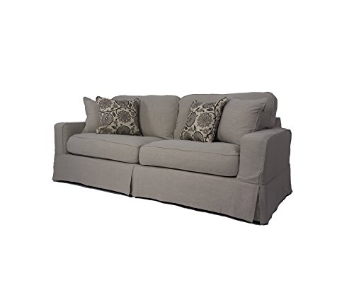 Sunset Trading American Slipcovered Sofa, 88″, Light Gray