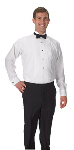 Premium Boy's Tuxedo Long Sleeve Shirt Wing-Tip Collar, with Bonus Black Bow Tie - Medium Size 13 ()