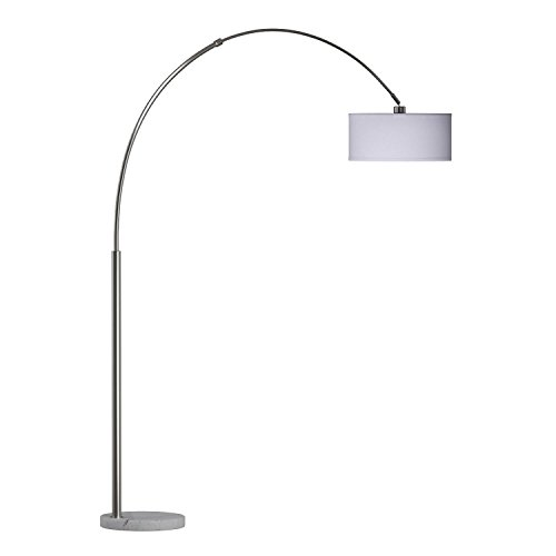 "SH Lighting 6938 Brush Steel Arching Floor Lamp with White Marble Base - Features Large White Drum Style Shade - 81"" Tall Fits in Living or Bedrooms (White)"