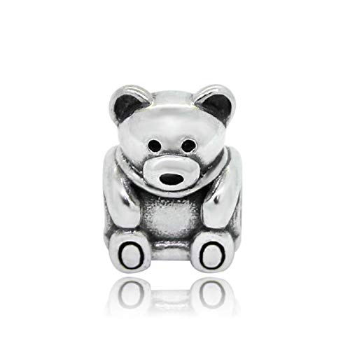 EVESCITY 925 Real Silver Gold Beads for Charm Bracelets ♥ Best Jewelry Gifts for Her Women ♥ (Teddy Bear)