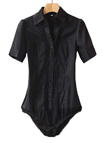 Soojun Women Short Sleeve Button Down Career Shirt Bodysuit Blouse,Style 1 Black,US -