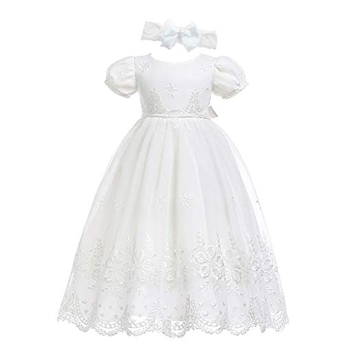 Glamulice Baby-Girls Newborn Satin Christening Baptism Floral Embroidered Dress Gown Outfit (16-20 Months, Off-White Dress & Headband)