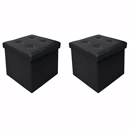 Otto & Ben 15 Storage Ottoman - [2pc Set] Folding Toy Box Chest with Memory Foam Seat, Tufted Faux Leather Ottomans Bench Foot Rest Stool, Black