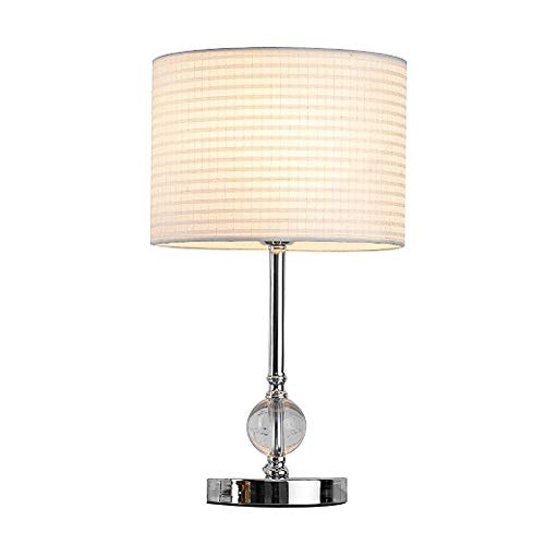 CCSUN Crystal Bedroom Table lamp, Dimmable Simple Table Desk Light with Fabric lampshade Chrome Finish E26 for Living Room Dorm Indoor Decor-White Dimmer Switch (Chrome Dimmer Switch)