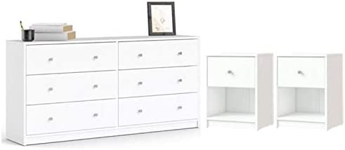 Home Square 3 Piece Bedroom Set with 6-Drawer Double Dresser and Two of 1-Drawer Nightstand in White
