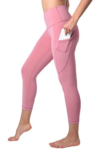 90 Degree By Reflex Squat Proof Side Phone Pocket Yoga Capris - High Waist Cropped Leggings - French Pink - Small (Stretch Cropped Leggings)