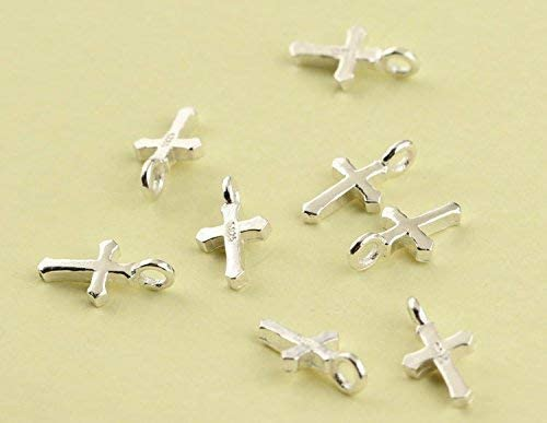 10 Sterling Silver Tiny Cross Charms 4x9mm Made in India