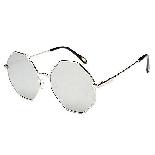 Lunettes UV Nouvelles de cadre petit métal en Wayfarer des air polari lunettes soleil soleil lunettes de Voyager plein en hommes soleil la soleil Polygon de de conduite exquis pour lunettes Argent Protection UqrIwazU