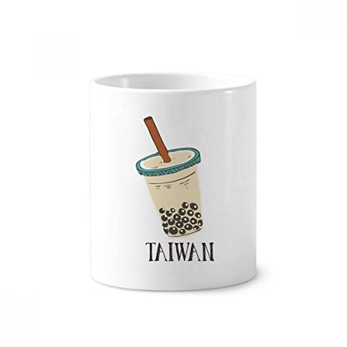 - Drink Pearl Milk Tea Food Taiwan Toothbrush Pen Holder Mug White Ceramic Cup 12oz