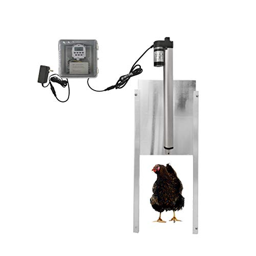 JVR Automatic Chicken Door Coop Opener Kit, Waterproof Outdoor Timer Controller Actuator Motor, 12V DC Power (Timing)