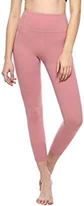 MOYOOGA High Waisted Leggings for Women - Workout Capri Yoga Pants with Phone Pockets - Athletic Gym Tight Leggings Tummy Control Compression (S, Begonia Pink)