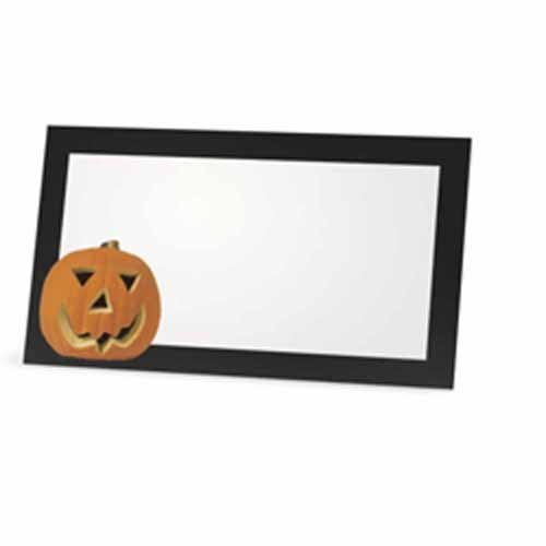 Halloween Place Cards - Flat or Tent - 10 or 50 Pack - White Blank Front Solid Color Border - Placement Table Name Seating Stationery Party Supplies Dinner Food Label (10, Pumpkin - Flat Style)