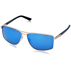Police Men's S8848-349B Rectangular Sunglasses, Gold,Black & Blue, 60 mm