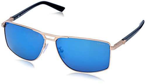 Police Men's S8848-349B Rectangular Sunglasses, Gold,Black & Blue, 60 - Police Sunglass