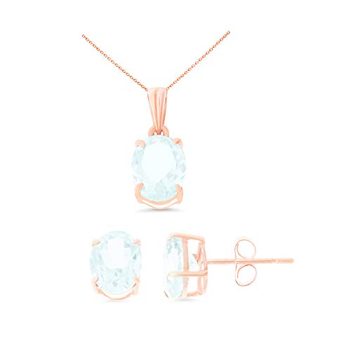 14K Rose Gold 6 x 8 mm. Oval Genuine Natural Aquamarine Earrings + Pendant Set With Square Rolo Chain - Genuine Square Aquamarine Pendant
