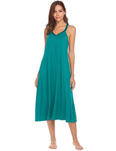 Ekouaer Long Nightgown Women's Solid Sleeveless Nightshirts Sleepwear,8358-peacock Blue,Medium