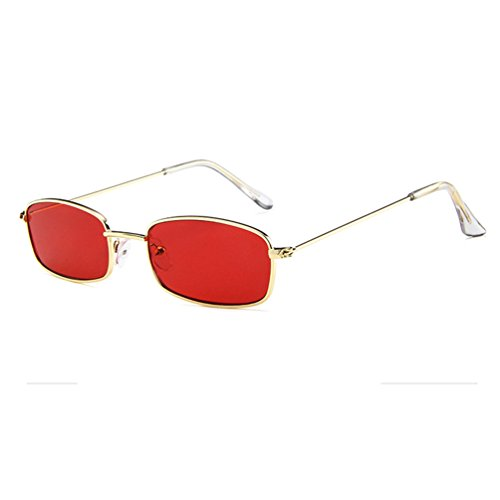 Armear Vintage Colored Sunglasses Retro Square Non Polarized Acrylic Lens (Gold/Red, -