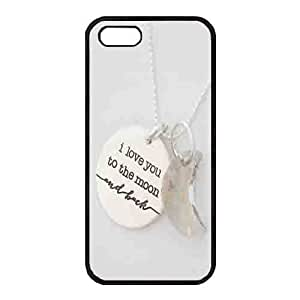 Case For Iphone 5/5S Cover Black Hard shellCase For Iphone 5/5S Cover s Protective Case Design with a moon type necklace Case For Iphone 5/5S Cover