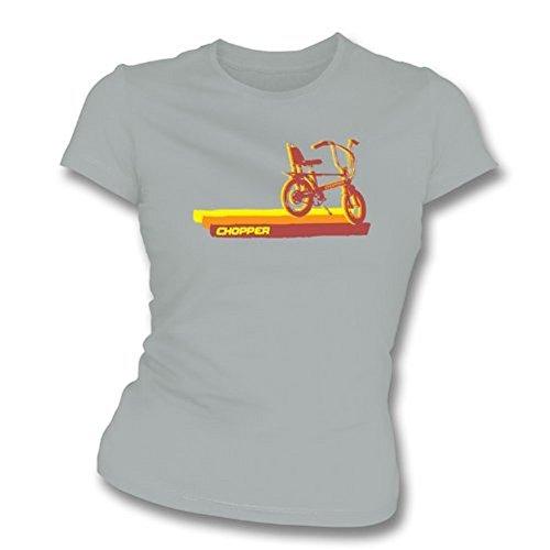 TshirtGrill dünnes T-Shirt der Sitz des siebziger Jahre Zerhacker-Fahrrad-Mädchens, Farbe- Grau