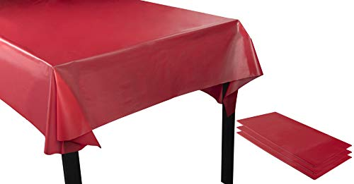 Red Plastic Tablecloth - 3-Pack 54 x 108-Inch Rectangle Red Disposable Table Cover for Buffet, Long Picnic Tables, Fits up to 8-Foot Tables, Valentines Day Party Decoration Supplies, 4.5 x 9 Feet -