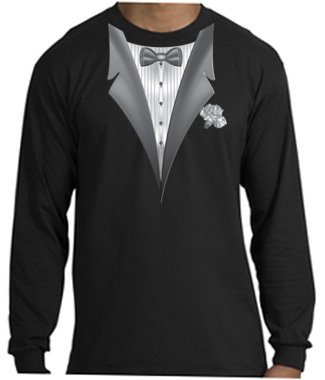 ca20b069 Amazon.com: Tuxedo Tux T-shirt Tee Shirt with Long Sleeves: Clothing