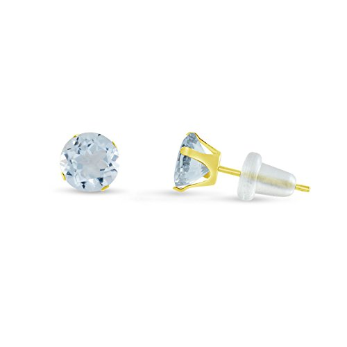 Round 4mm 10k Yellow Gold Simulated Aquamarine Stud Earrings, March Birthstone, (0.4 cttw)