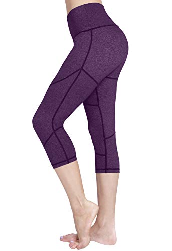 Raypose High Waisted Tummy Control Capri Yoga Pants w Pocket for Women Workout Running Capris Leggings Non See Through for Fitness Purple-XXL
