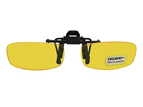 Extra Skinny Rectangle Yellow Non Polarized Flip Up Sunglasses (Black-Non Pol Yellow Lens, 62mm Width x 35mm - Sunglasses Attachment Up Flip