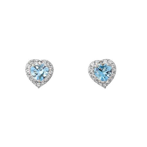 Heart Shaped Aquamarine Earrings - 3