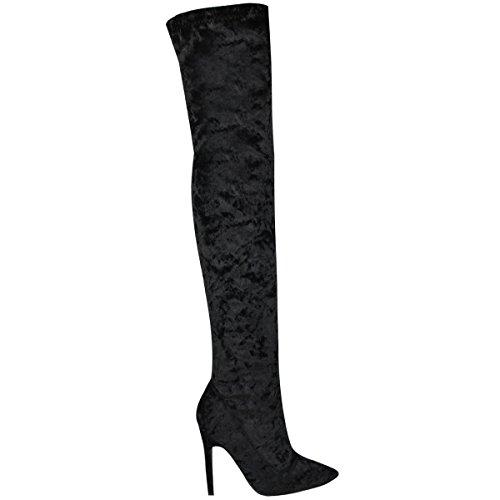 The Size Over High Black Thigh Velvet Knee Party Stilettos Fashion Velvet Womens Heels Thirsty Boots 7x1qRXUYn