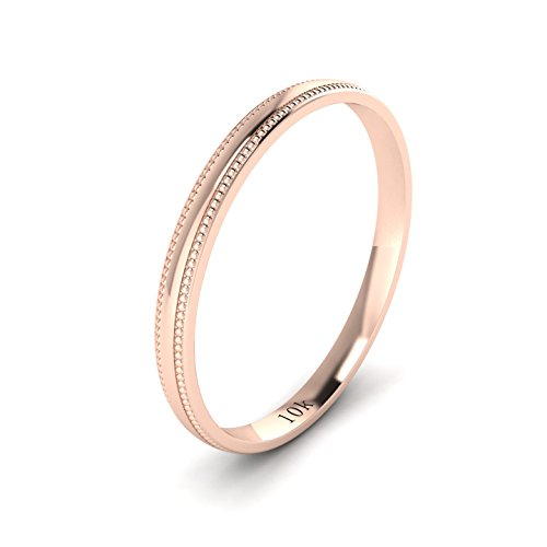Unisex 10k Rose Gold 2mm Light Court Shape Comfort Fit Polished Wedding Ring Milgrain Band (6.5)