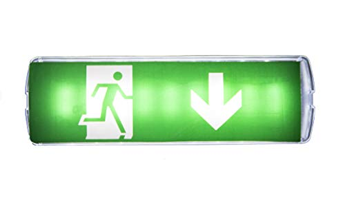 Biard 7.5W LED Green Emergency Exit Sign Bulkhead Commercial Safety Lighting for Warehouses with 3 Hour Battery Backup Maintained//Non-Maintained Right Arrow