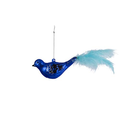 Anvehu Ornaments Luxury Mouth Blown Blue Glass Bird with Glitter Wings and Blue Feather Tail Christmas Tree Decorations