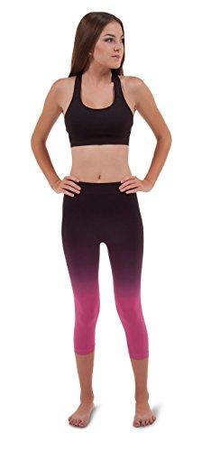 Ombre Fashion/Active Capri Crossover Seamless Leggings (Large/XL, Black to Fuchsia Pink)