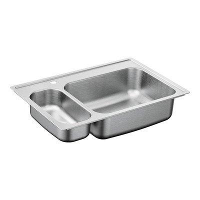 Moen G202861 2000 Series Stainless Steel 20 Gauge Double Bowl Drop in Sink, 33