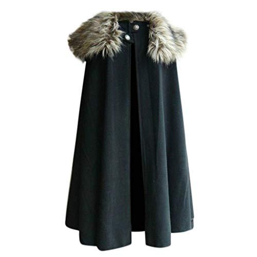 Men's Cape Coat Beautyfine Fashion Celtic Wool Vintage Coat Gothic Game of Thrones Jacket ()