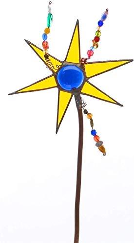Stained Glass Star Gardenstake, Decorative suncatcher for Flowerpots, Gardendecor