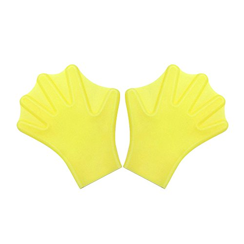 Swimming Hand Paddles Webbed Gloves for Swim Training S Yellow - 5