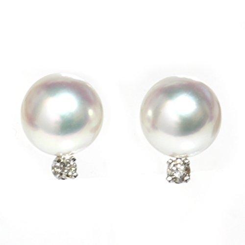 Diamond Cultured Akoya Pearl Stud Earrings 8 - 8.5 MM AAA Flawless 14k Solid Gold (white-gold) ()