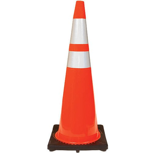 JBC High-Visibility Orange Traffic Cones with 3M Reflective Collars - 36-inch