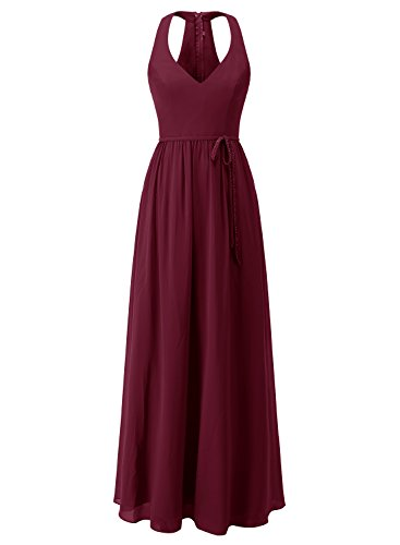 ALAGIRLS Womens V Neck Bridesmaid Dresses Chiffon Long Wedding Party Gowns With Belt Burgundy US18Plus