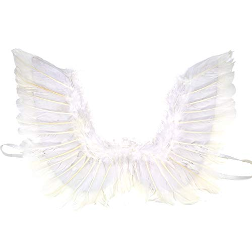 White Feather Angel Wings with Elastic Straps Cosplay Party Costumes Fancy Dress Accessory for Girls Women Adults Small 17.7