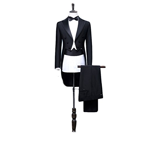 Botong Tailcoat Wedding Suit for Men Black Jacket Tuxedo 3 Pieces Mens Suit M by Botong