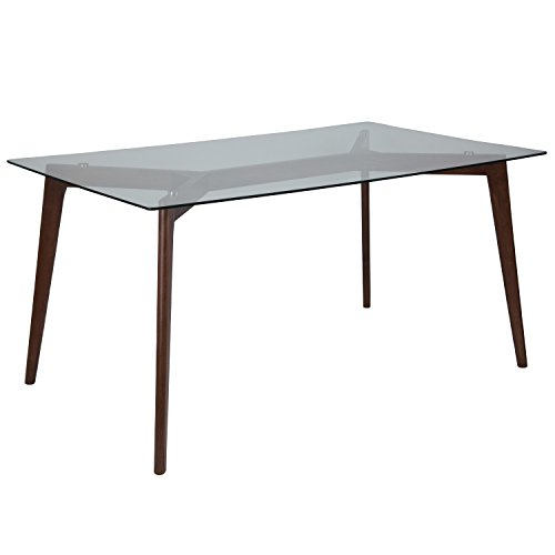 Flash Furniture Parkside 35.25'' x 59'' Solid Walnut Wood Table with Clear Glass Top