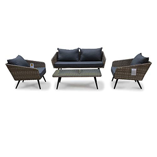 - Courtyard Casual 5093 Encino Collection 4pc. Outdoor Loveseat Set with Cushions, Natural