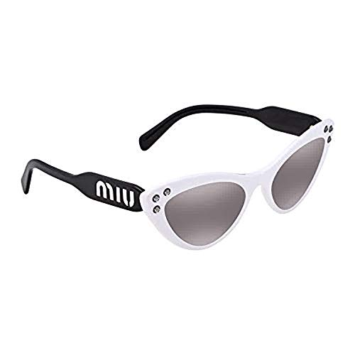 (Miu Miu Women's Crystals Cat Eye Sunglasses, White/Grey Mirror, One Size)
