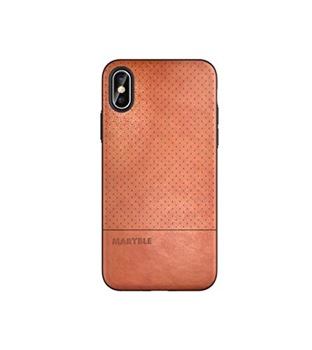 MARYBLE Perforated Design PU Leather Phone Case for iPhone X (2017) / iPhone Xs case (2018) (Brown) (Design Slim Leather Pu)