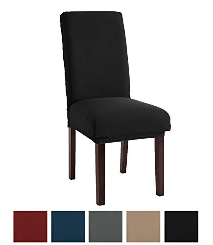 Great Bay Home Stretch Jersey Dining Chair Slipcovers. Protective Covers, Super Fit, Removable and Washable. (Set of 2, Black) ()