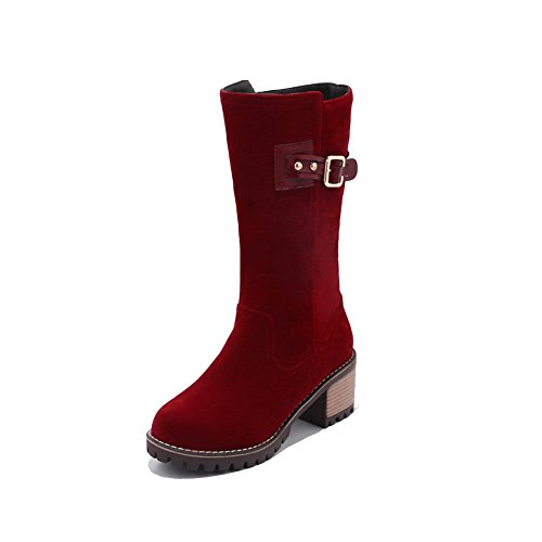 Lining Waterproof Toe Closed Heel Toe amp;N Boots Cushioning AN No Closure Nubuck Claret Urethane Warm Low Round Boots DKU01861 Bridal Womens Road A 5zPqwWX7