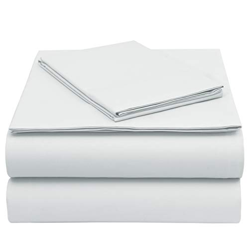 (EnvioHome GOTS Certified 300 Thread Count Organic Cotton Percale Sheet Set - 3 Piece - Twin, White )